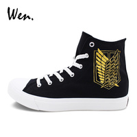 Wen Original Lace Up Sneakers Black Canvas Hand Painted Shoes Design Anime Attack On Titan Graffiti