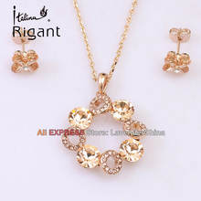 A1-S018 Italina Rigant Fashion CZ Simulated Gemstone Necklace Earrings Jewelry Sets 18KGP Rhinestone Crystal