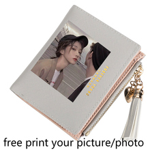 Womens wallet new short thin fresh zipper buckle simple zero hand custom photo picture print multiple card coins