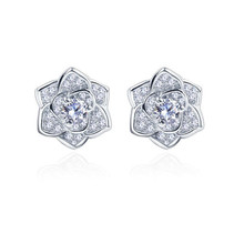 Everoyal Top Quality Silver 925 Sterling Earrings For Women Jewelry Fashion Crystal Flower Girl Stud Female Accessories