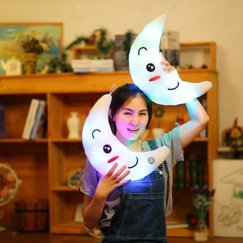 Lovely 35cm Colorful Moon Plush Toys Sleep Luminous Led Light Cushion Pillow Plush Moon Doll Birthday Gifts For Kids #30