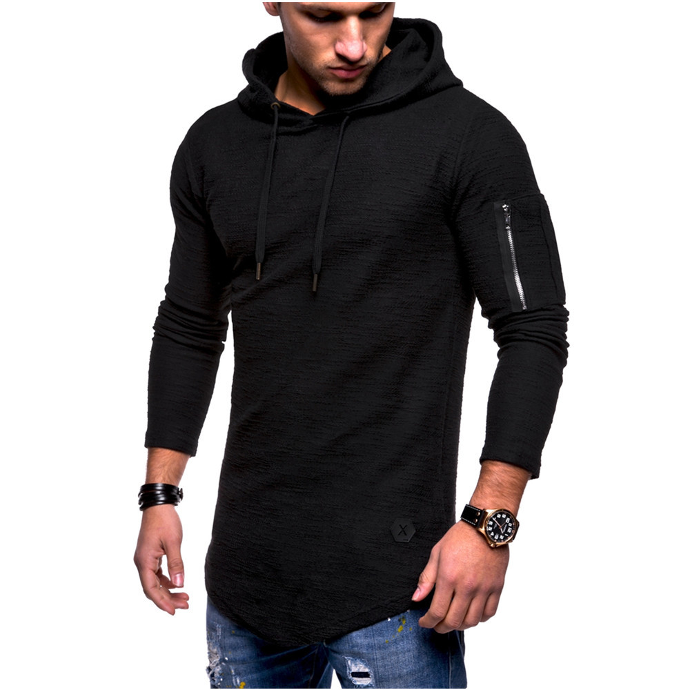 Men's Hooded T Shirt Slim Fit Cotton Long Sleeve Casual