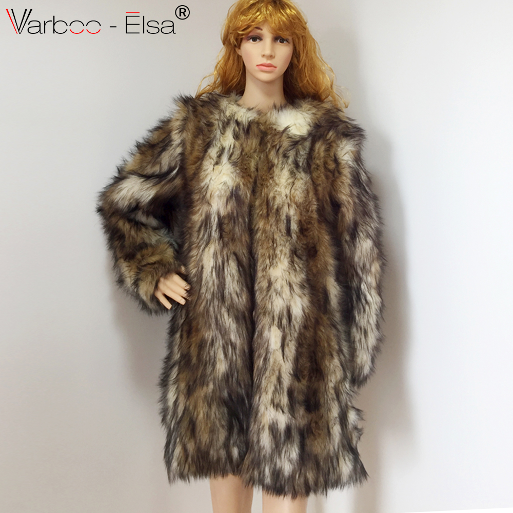 cc5647a331a6 VARBOO ELSA Leopard Faux fur coat long female fox fur jacket women winter  jacket Fur Jackets Lapel collar Long Sleeve Loose coat-in Faux Fur from  Women s ...