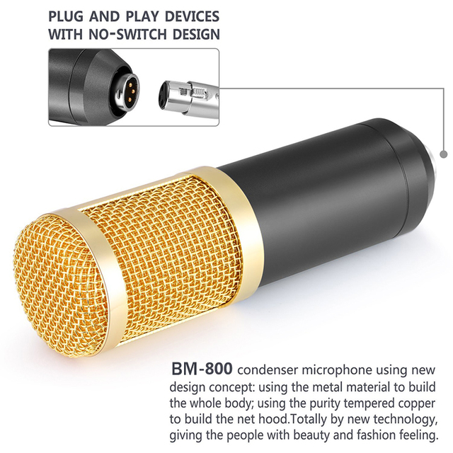 Microphone for computer Professional Condenser Microphone + 48V Phantom Power + USB Sound Card Studio KTVHave a small gift