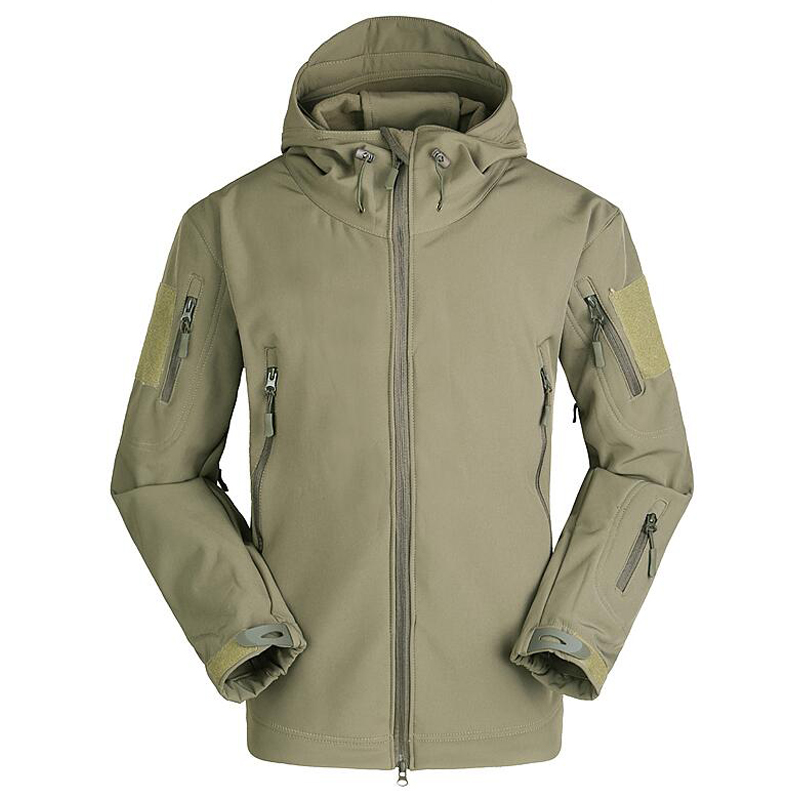 Image 3 - Tactical Jacket Men Military Camouflage Shark Skin Soft Shell Waterproof Hooded Jackets Outdoor Camo Fleece Warm Raincoat Coats-in Jackets from Men's Clothing