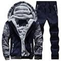 Grandwish Winter Thick Inner Wool Hoodie Men Hat Casual Active Suit Men Zipper Exercise Suits Men Outwear Plus Size 5XL,PA644
