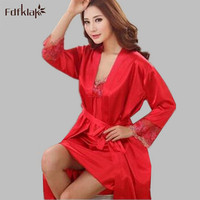 High quality sexy nightgowns set for women robes female 2 pieces set silk satin sleepwear ladies night dress 3XL S0082