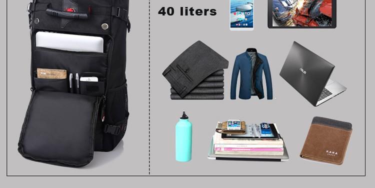 KAKA Men Backpack Travel Bag Large Capacity Versatile Utility Mountaineering Multifunctional Waterproof Backpack Luggage Bag 16