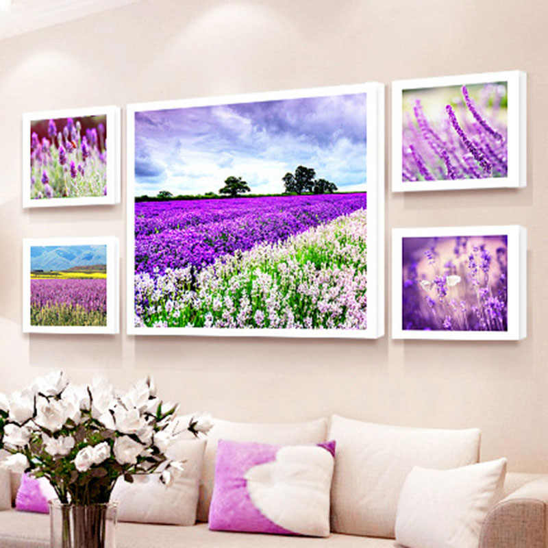HAOCHU Nordic Canvas Painting Living Room Decoration Painting Modern Simple Bedroom Posters Sofa Background Flowers Lavender
