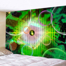 Green Science Fiction Decor Psychedelic Tapestry Wall Hanging Indian Mandala Hippie Tapestries Boho Cloth