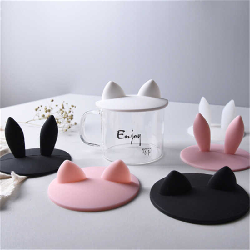6 Colors Silicone Rabbit Ear Cups Lids Cute Dustproof Reuseable Cup Covers Anti Dust Coffee Cup Magic Cover Anti-dust Reusable