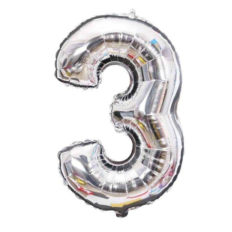 32 дюйма 0-9 Большие Гелиевые цифровые воздушные баллоны фольги детские игрушки на день рождения серебристые золотые розовые вечерние Детские Мультяшные шляпы - Цвет: silver 3