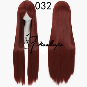 Image 5 - 100cm High Quality Anime Straight Long Wig Cosplay Costume Synthetic Hair Purple Silver White Grey Blue Rose Red Wigs For Women