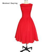 Modest Red Ball Suknia Plisowane Sukienki Koktajlowe 1950's Rocznika Sukienka na Boże Narodzenie Kolano Długość Party Prom Suknie koktajlowe robe