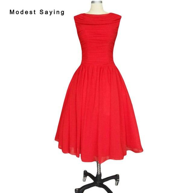 12243 10 De Descuentomodest Red Bola Plisado Vestidos De Cóctel 1950s Vintage Vestido Para Navidad Rodilla Longitud Partido Vestidos De Baile