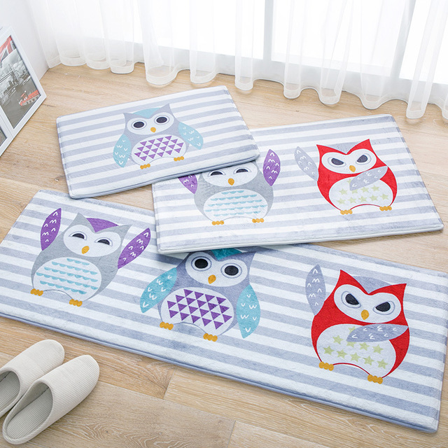 Owl Kitchen Rugs White Appliances Cute Rug 3pcs Set Home Decor Bedroom Mat Pad Floor Mats Water Absorption Bath Carpet