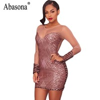 Abasona Women Sequins Dress Autumn Long Sleeve Mesh Patchwork Women Dresses Striped Plaid Evening Party Sexy