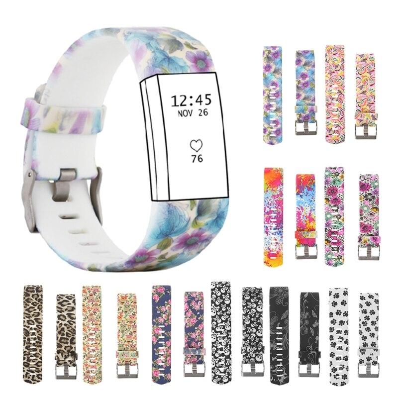 Красочный ремешок для часов Модный спортивный силиконовый ремешок для часов браслет ремешок для Fitbit Charge 2 шаблон ремешок на запястье