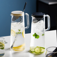 MDZF SWEETHOME 56 Oz Glass Pitcher Water Jug with Stainless Steel Strainer Juice Iced Tea Hot or Cold Water Jar with Bar Spoon