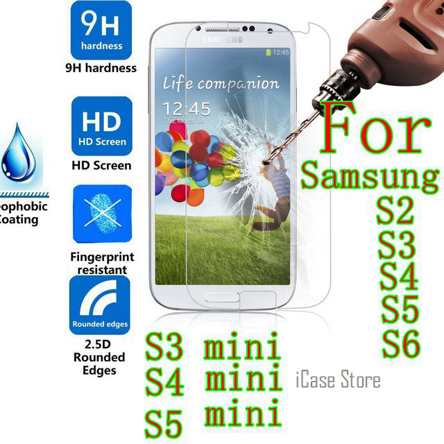 Tempered glass For Samsung Galaxy S2 plus S3 S4 S5 S6 S3 mini S4 mini S5 mini GT I9190 i8190 i9500 I9300 I9100 SM G9200 case image