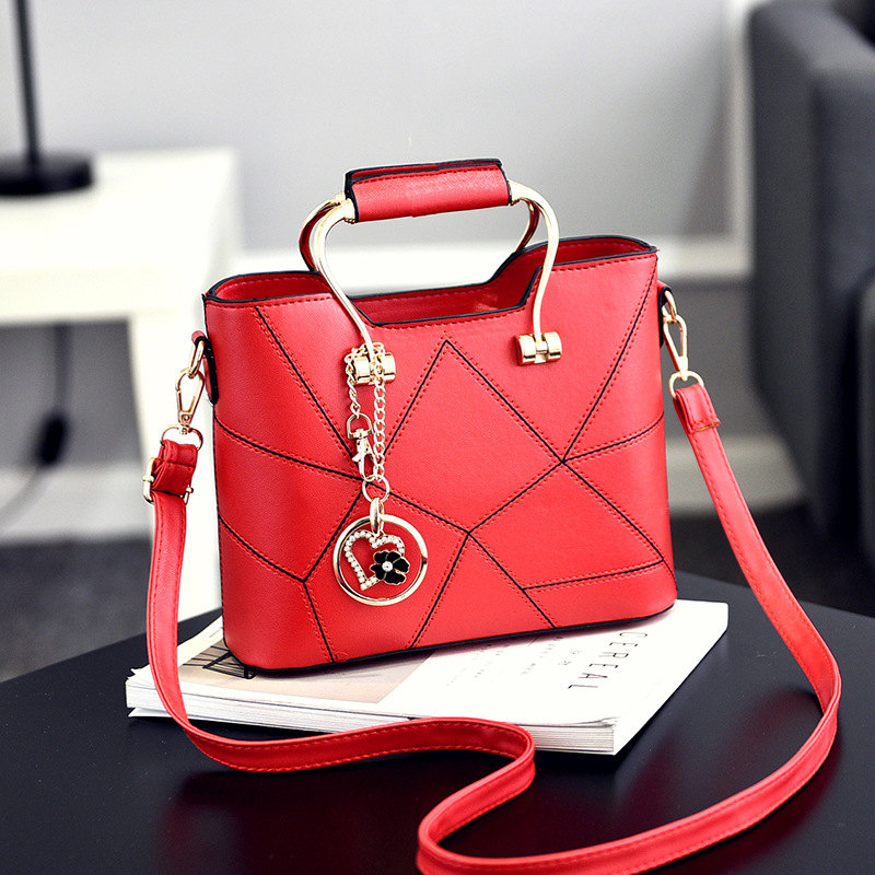 Fashion PU Women Handbag Office Lady Shoulder Bag Red Metal Handle Heart Flower Pendant Crossbody easyguard pke car alarm system remote engine start stop shock sensor push button start stop window rise up automatically