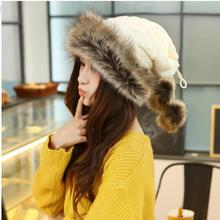 b72f32ebcda Women New Wool Warm Rabbit Fur Thick Lovely Mongolia Ethnic Female Knitted  Winter Hats With Faux