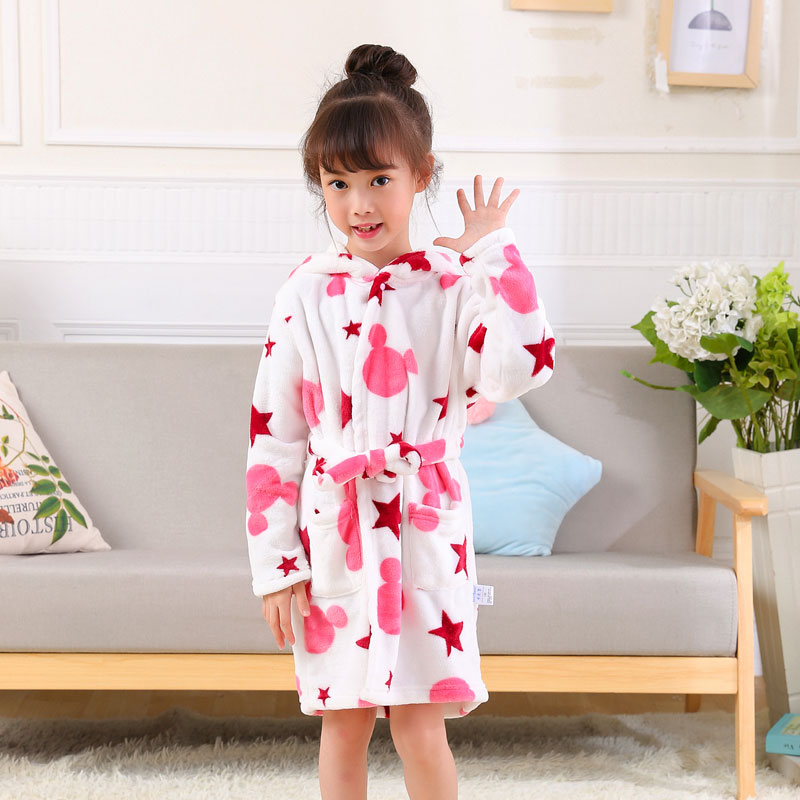 Cartoon Children Robes Kids Boys Girls Robes Lovely Long Sleeve Hooded Bath Robes Flannel Print Boy Girl Gown Children Clothing