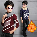 Boys Plus velvet Sweaters 2016 Autumn Winter Knitted Sweater For Boys Tops Children Clothing 5 7 8 9 11 14 Years Teenage Boys Cl