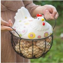 The hen receives a basket of egg baskets and a basket of potato garlic and a basket of containers