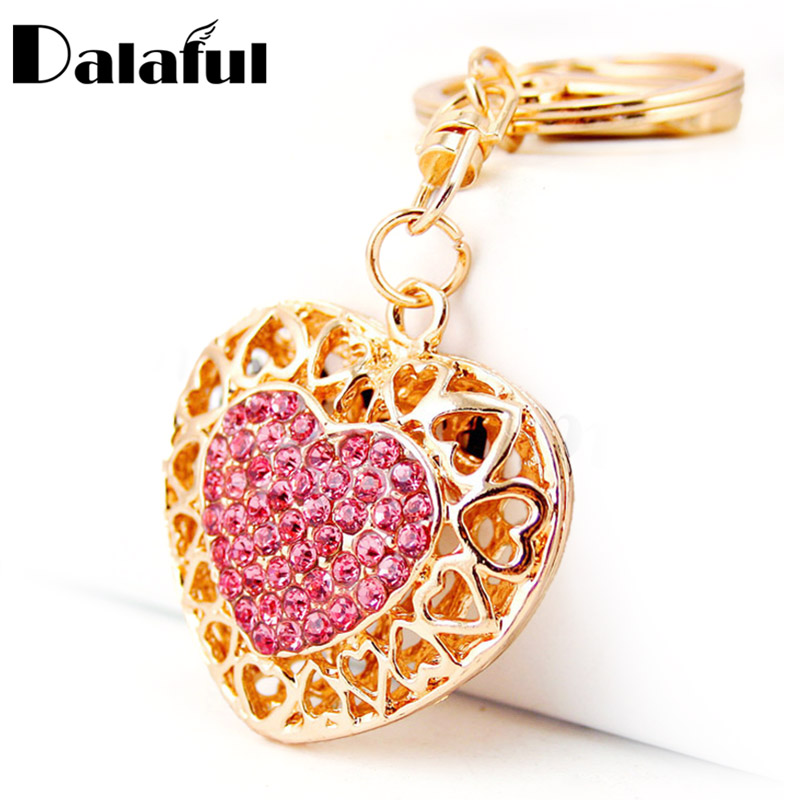 Dalaful Hollow Out Love Heart Key Chains Rings Holder For Lovers Sweetheart Pendant For Car Keyrings KeyChains K290