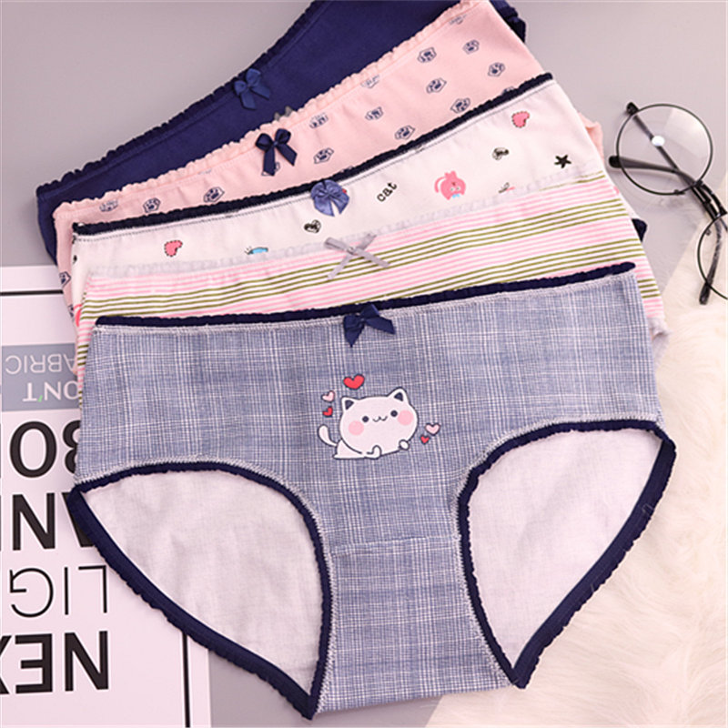 HUI GUAN Cartoon Animal Bow Decoration Girls Briefs Print Cotton Seamless   Panties   Women Striped Breathable Cute Briefs Lingerie