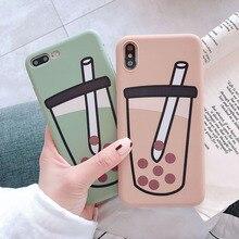 soft silicone case for iPhone 8Plus 8 7Plus cover xr 6 6Plus compatible 6S 6sPlus 7  X XS XSMAX TPU pearl milk tea pattern