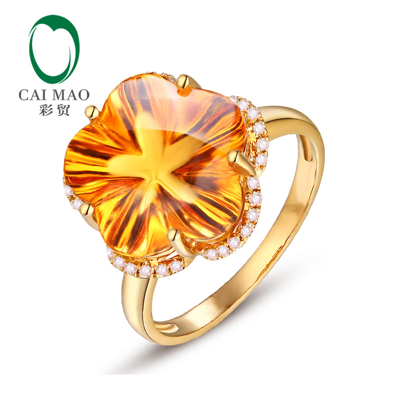 Caimao Jewelry Flower Shape 9.75ctw Citrine & Diamonds 14K Yellow Ring