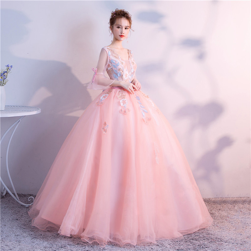 Ball Gown Quinceanera Dresses Pink Prom Blue Lace Tulle V neck Three Quarter Bell Sleeve Luxury Sweet 15 Debutante 16 Party Gown