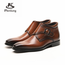 Men winter Boots Genuine cow leather chelsea boots brogue casual ankle flat shoes Comfortable quality soft 2019 brown black men winter boots 100% genuine cow leather brogue shoes casual ankle shoes comfortable quality soft handmade flat shoes black red