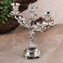 Candle holder 2-arm silver plated angel candlestick wedding/ home decoration