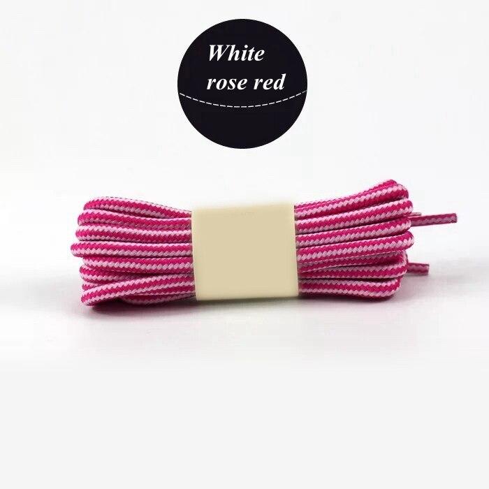1 пара колготок в полоску двойной Цвет шнурки ботинки на открытом воздухе спортивные шнурки хлопок Круглые Шнурки 18 Цвета Длина 70 см, 90 см, 120 см 150 см - Цвет: White rose red