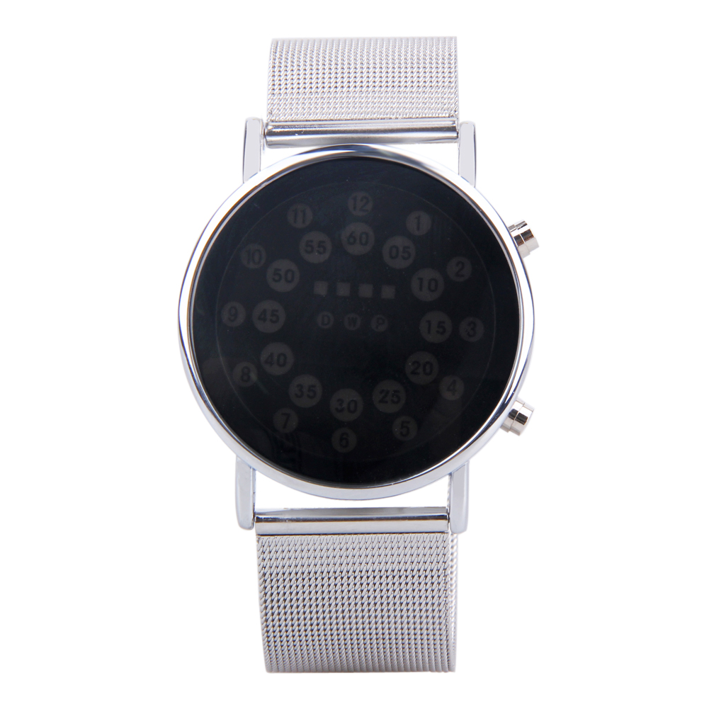 Men's Watches Watches New Brand Men Fashion Binary Watch Full Steel Mesh Band Watch Led Digital Watches Saat Erkekler Mild And Mellow