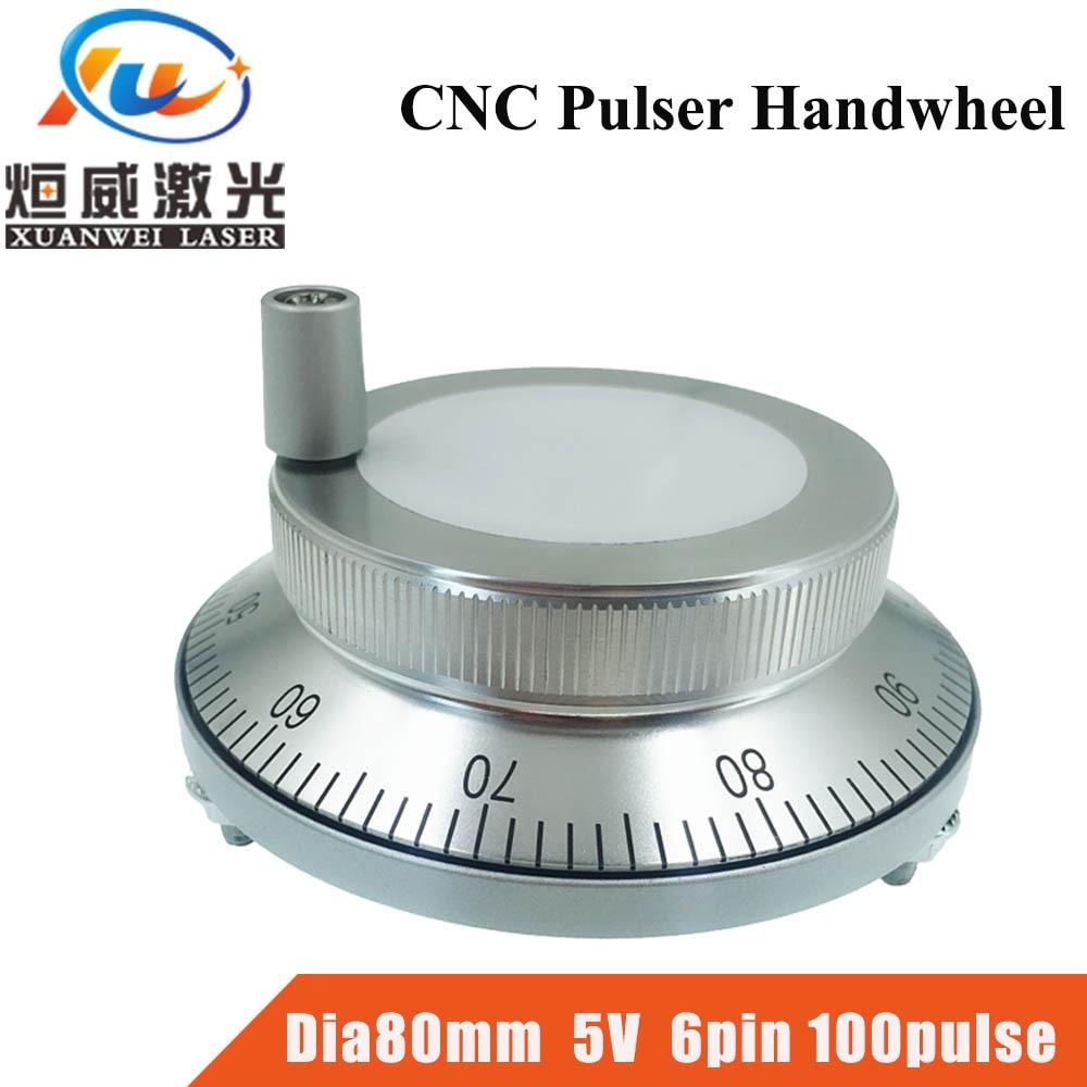 CNC Pulser Handwheel 5V 6pin Pulse 100 Manual Pulse Generator Hand Wheel CNC Machine Dia. 80mm Rotary Encoder Free Shipping