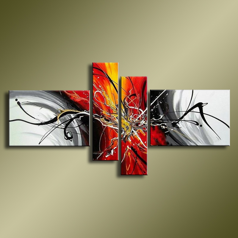 Hand Painted Abstract Oil Paintings On Canvas Red Black White Modern Oil Painting Set Home Decoration
