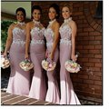 2016 Long Bridesmaid Dresses Elegant Halter Mermaid Appliques Lace Satin Wedding Party Dress Custom Made