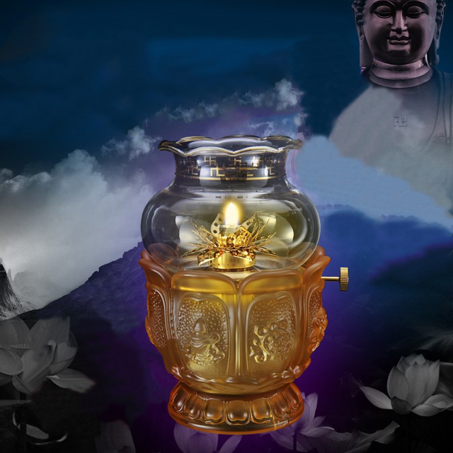 Oil Lamp With Water Colored Glaze Base U0026 Glass Cover, Matching Smokeless  Butter Oil,
