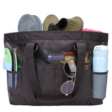 Купить с кэшбэком Cherrboll Beach Bag Tote Over sized Waterproof Mesh Bag for Toy Grocery Pool (Small)