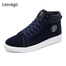 lesvago Hi-Q males's Canvas vulcanize Shoes Espadrilles 2017 new trend high-tops Men's leisure footwear Britain type dimension 39-44