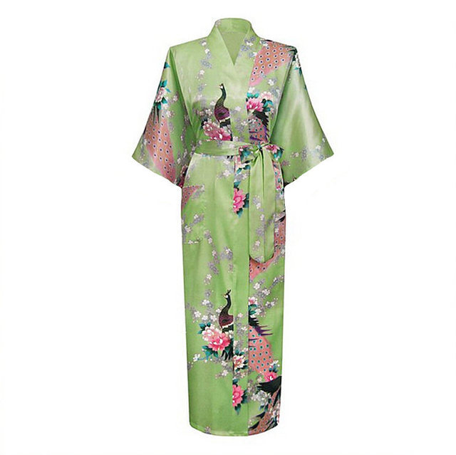 Light Green Female Robe Bathrobe Style Long Women's Sleepwear Kimono Bath Gown Mujer Pijama Plus Size S M L XL XXL XXXL Zh01K