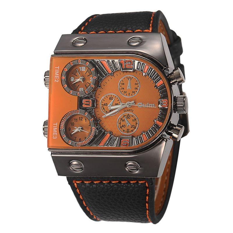 Prix pour De luxe Hommes Montre En Cuir Montre-Bracelet Pour Hommes Étanche Montres Militaires Horloge Mâle Armée En Cuir Big Face Quartz-montre