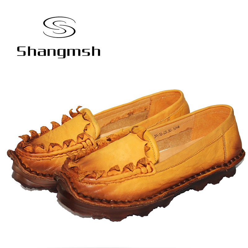ФОТО 2017 Woman Flats Handmade 100% Full Grain Leather Autumn Flats Driving Shoes Soft & Comfortable Casual Shoes For Women Plus Size