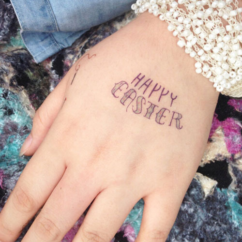 Ms Tt40 Happy Easter Letters Words Creative Gift Waterproof Tattoos