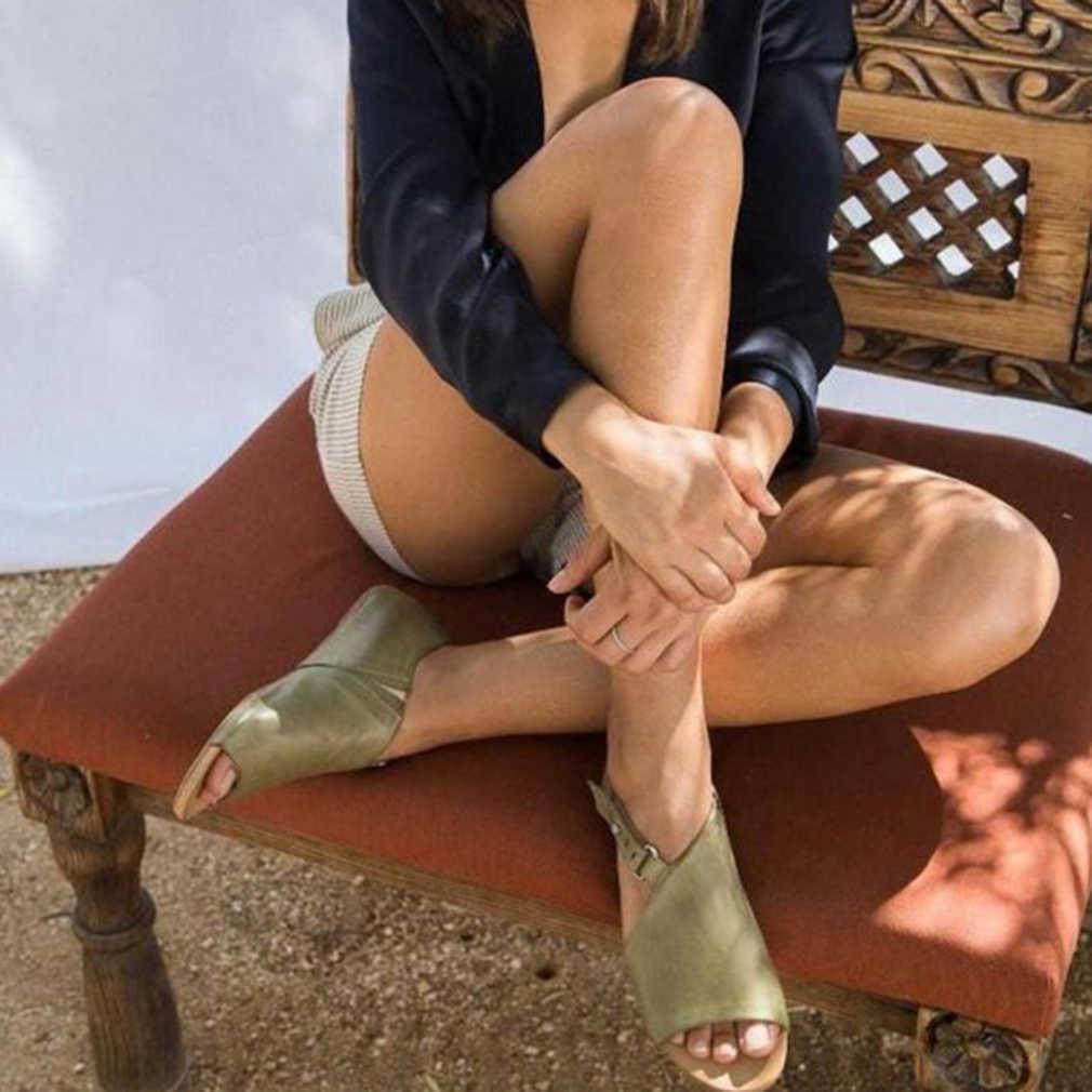 Sandali delle donne di Vibrazione di Cadute di Appartamenti 2020 di Estate Gladiatore Scarpe Roma Donne Presentazioni Aziende Produttrici Giochi Fibbia Della Signora Casual Femminile Peep Toe Sandalias mujer