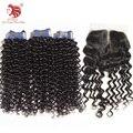 Новая Мода Спираль Curl Бразильского виргинские волос с закрытие натуральных человеческих волос бесплатная доставка волосы горячее надувательство продукты